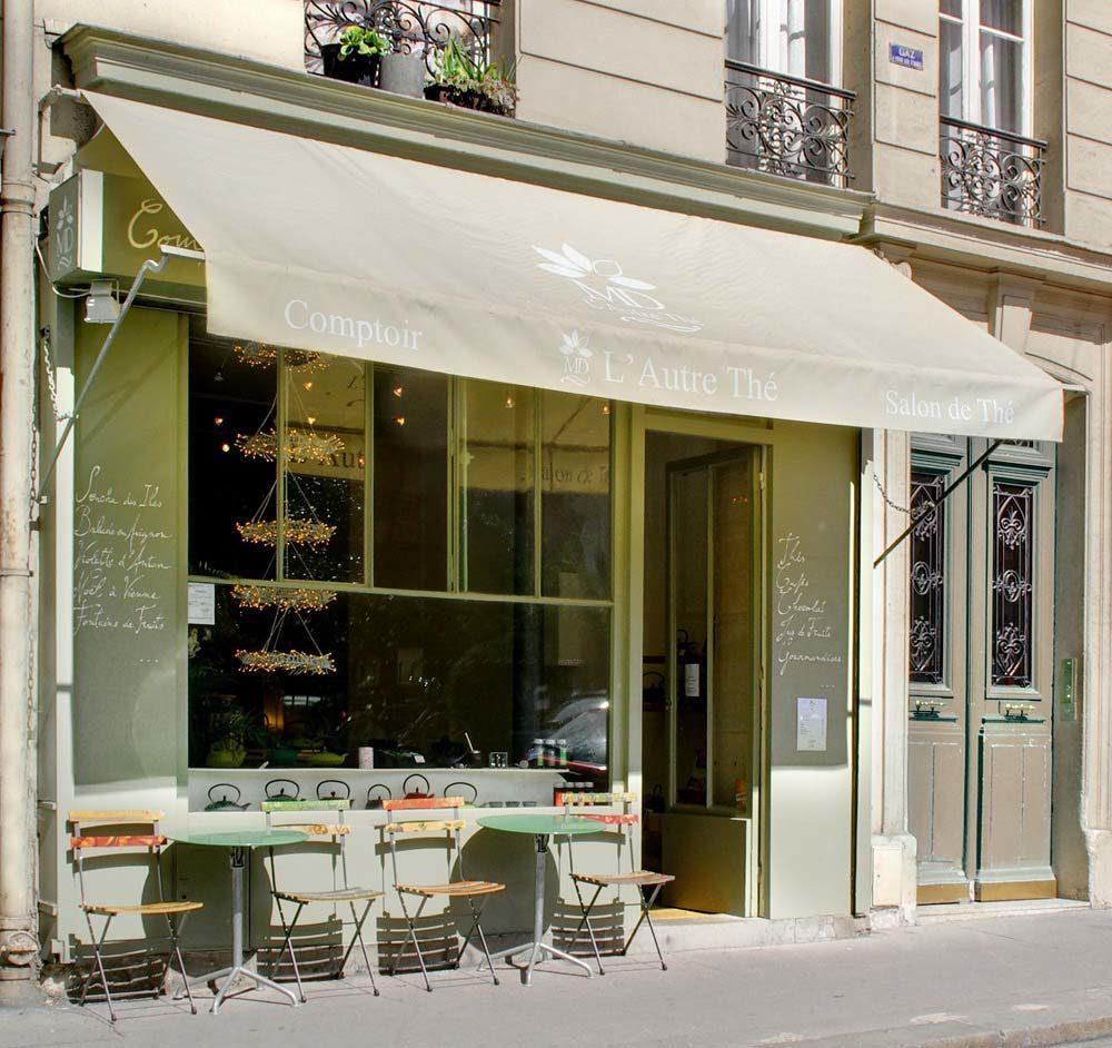 Devanture de l'Autre Thé, rue Daguerre à Paris